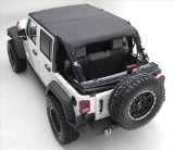 Smittybilt Jeep Wrangler JK Unlimited 2007-09 Bikini Top Combo - Includes Black Diamond Extended Top # 94535 and Windshield Channel # 90105